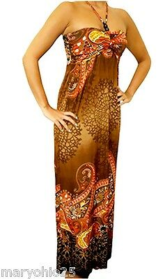 NEW Women Brown Multi Color Summer Beaded Maxi Halter Long DRESS Juniors S M L