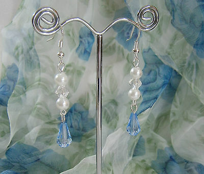 Long Dangle Pierced Earrings Blue Tear Drop Clear Crystal White Glass Pearls New