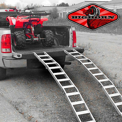 Aluminum Tri-Fold Lawnmower ATV Truck Loading Ramps Arched Pair Folding P