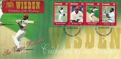 WISDEN 2000 CRICKET VIV RICHARDS GRENADA 2000 Set of 4 Values First Day Cover