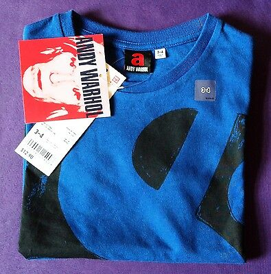 Andy Warhol Designer T Shirt  - Blue Short Sleeve - Ages 3-4 yrs or 5-6 yrs