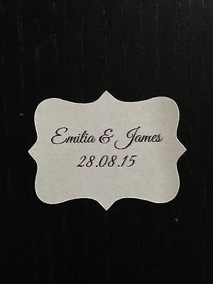 28 x VINTAGE White Wedding Paper Sticker Labels Personalised ITALIC