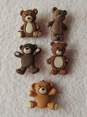 Dress It Up Buttons ~ Stuffed With Love ~ 5 Cute Teddy Bears