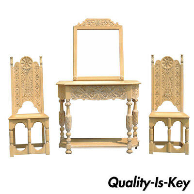 Jacobean Renaissance Revival Oak Hall Console Table Mirror Pair Side Chairs Set