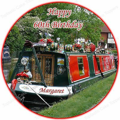 Personalised Narrowboat Canal House Boat Barge Round Edible Icing Cake Topper