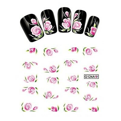 20 Stickers-Decals Water Transfer Flowers-Tattoo Adesivi Unghie Fiori Rosa