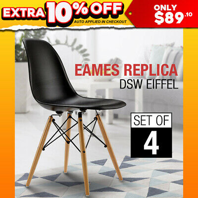 4 x Retro Replica Eames Dining Chairs Eiffel DSW Cafe Kitchen Beech Chair Black