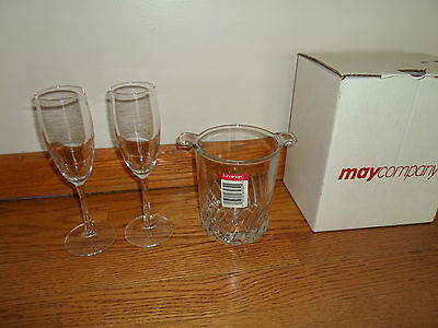 VINTAGE - LUMINARC (France)  Crystal / Clear Glass Ice Bucket and 2 Flutes