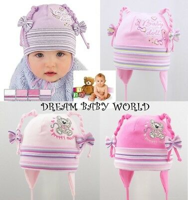 Cotton baby girls hat SPRING size 0 - 24 months & 2 - 3 Years GIRL Tie up KIDS