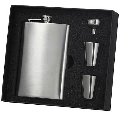 Personalized Visol 8oz. Brush Chrome Finish Stainless Steel Hip Flask Set