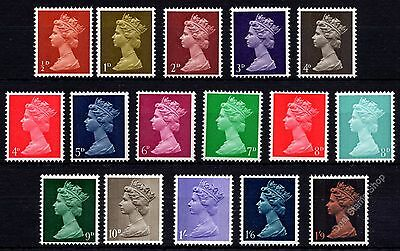 GB 1967 Low Value Definitive Machin Basic Set of 16 SG723 - 744 Unmounted Mint