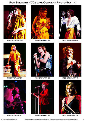 Rod Stewart Photos 4x6 inch Lot Set of 28 Pro Fuji Prints '70s Live Concert 3