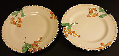 "PAIR OF BURLEIGH WARE ART DECO MEADOWLAND 8"" SIDE PLATES  ZENITH DESIGN"