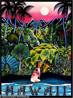 Hawaii Island Hawaiian Girls Oahu  Waikiki Vintage Travel Advertisement Poster