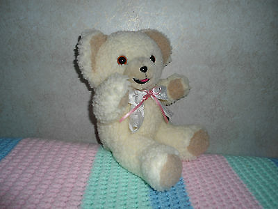"""1986 Vintage Snuggle Bear With White And Pink Bow Lever Brother Company 10"""" #5"""