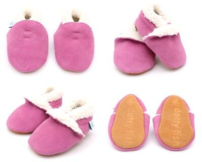 Dotty Fish Soft Suede Baby Slippers with Fleece Lining - Pink - 0-6mths - 3-4yrs