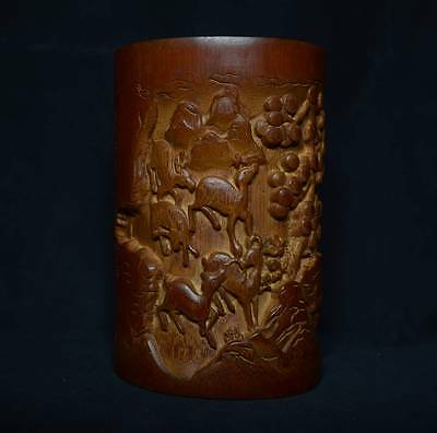 ZK997 Chinese Carved Bamboo Brush Pot Pen Container