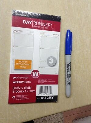 At A Glanc Day Runner Weekly Refill, Desk Size, 2015. New, 048252