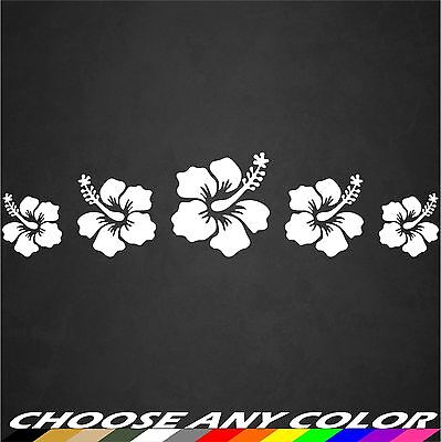 Hibiscus Flower Decal Row White Hawaiian Vinyl Graphics Decal Sticker Car