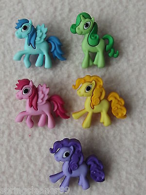 Dress It Up Buttons ~ Pony Parade ~ 5 Colourful Ponies