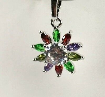 "P+1594 Handcrafted 11 Multi-Colored Gemstones silver Pendent FREE 18"" Chain"