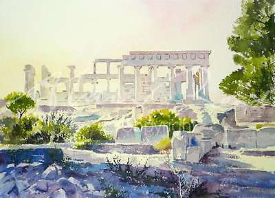 "ORIGINAL ALAN REED WATERCOLOUR ""Temple of Aphaea"" Greek Island Aegina  PAINTING"