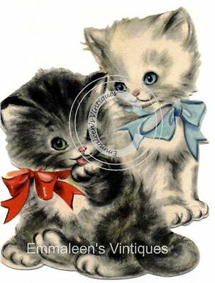 ~Vintage Shabby Black White Kittens With Bows Waterslide Decals~ AN582