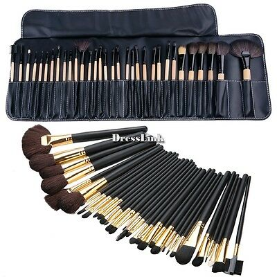 32pz Pennelli Cosmetico Kit Make Up Professionale Trucco Brush Set Oro/nero DL0
