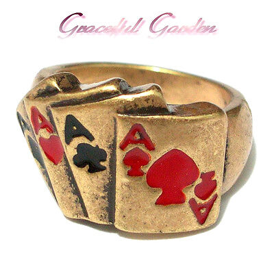 CR2134 Graceful Garden Vintage Style Anitque Gold Tone Poker 4 Aces Ring 6.5