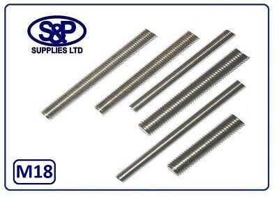 M18 / 18Mm X 100Mm To 350Mm A2 Stainless Steel Threaded Bar Studding Stud