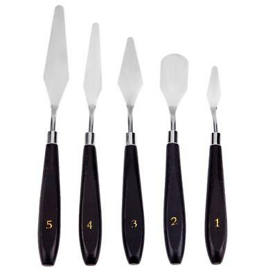 5pcs Stainless Steel Spatula Palette Knife Painting Mixing Scraper Set New
