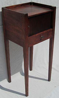 Chippendale  Inlaid Virginia Solid Figured Mahogany Tambour Chamber Pot Stand