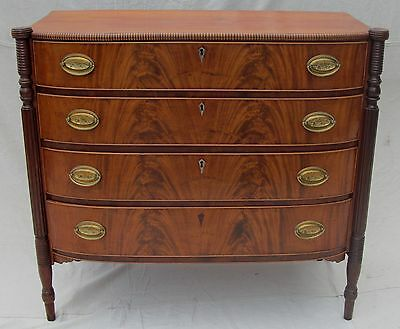 Superior Formed 18Th Century Federal Period Bow Front Dresser-Portsmouth Nh