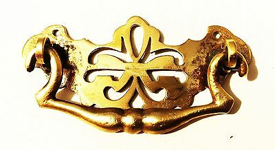 """Circa 1750 Chippendale Federal antique hardware drawer pull brass 2 1/2"""" center"""