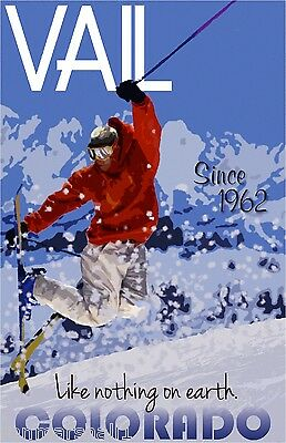 Vail Colorado Ski Winter II United States America Travel Advertisement Poster