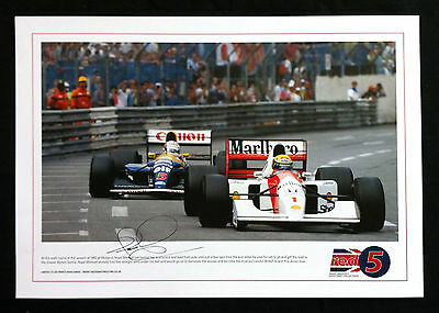 Nigel Mansell SIGNED 'Red 5' 50x35cm Lithograph, Monaco Chase, Ayrton Senna, COA