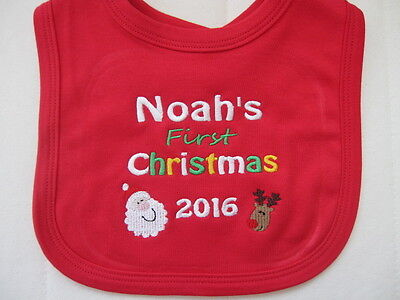 Personalised Baby Bib - Embroidered - Baby's 1st Christmas - Xmas Gift  2019