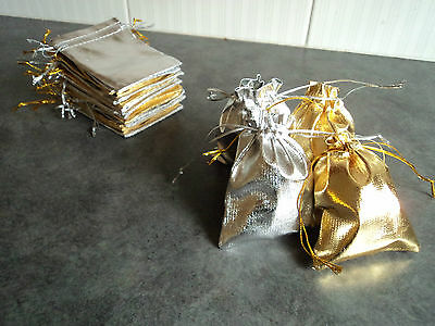 10 x Gold/ Silver Organza Gift Bags Party Wedding Favours Candy Pouch Jewellery
