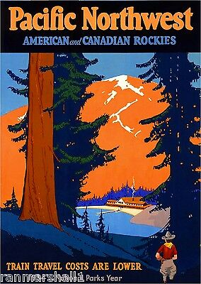 Pacific Northwest Canadian United States Vintage Travel Advertisement Poster