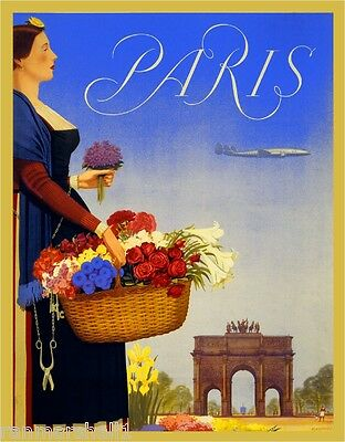 Paris France Arc de Triomphe Europe European Travel Advertisement Art Poster