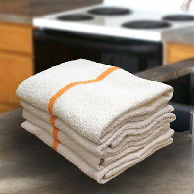 12 GOLD/ORANGE STRIPE BAR MOPS RESTAURANT KITCHEN COMMERCIAL TOWELS 32oz