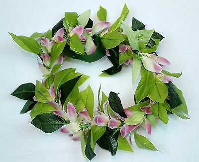 Hawaiian Lei Party Luau Haku Elastic Green Leaf Pink Flower Wahie Wedding