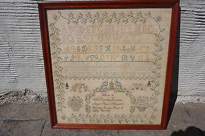 Antique Sampler 1831 Watertown New York Needlework Embroidery Framed Dated
