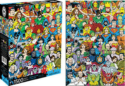 DC Comics Universe Characters Comic Art Collage 1500 Piece Jigsaw Puzzle, SEALED