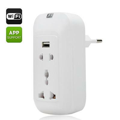 EU Power Supply Wi-Fi Smart Wall Socket - Android + iOS Supported, 3 Ports