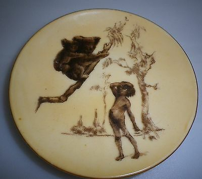 Brownie Downing 1950's pin dish of an Aboriginal Child observing Koalas