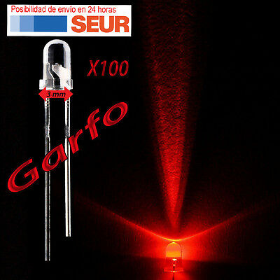 100X Diodo LED 3 mm Rojo 2 Pin alta luminosidad