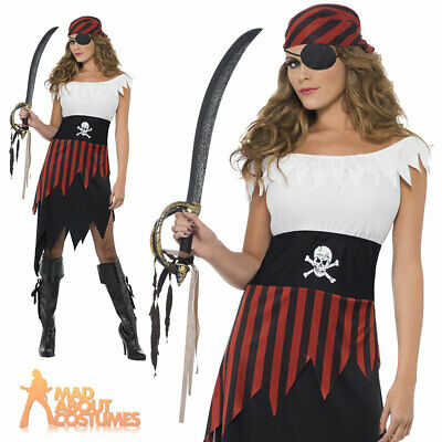 Adult Pirate Wench Lady Costume Buccaneer Ladies Female Fancy Dress Outfit 8-18