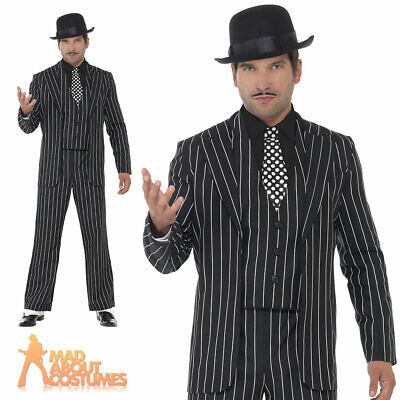 Adult Vintage Gangster Boss Costume Mens 1920s Mafia Fancy Dress Outfit New