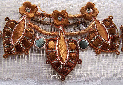 Vintage Applique Trim Shades of Brown Sky Blue Gold Metallic Accents French